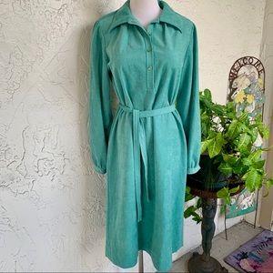 VINTAGE 70s Microsuede Knit Seafoam Green Dress